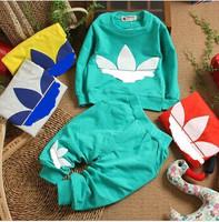retail 2014 New cotton Toddlers children baby boys girls autumn spring 2 pcs clothing set suit Pattern baby shirt + pants sets