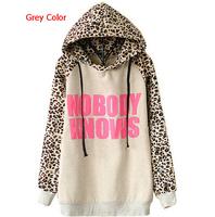 New 2014 Winter Women Fashion Hoodies Leopard stitching Letters Print  Loose Sweatshirt hoody Jacket Coat