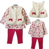 3pcs sets new 2014 fashion brand Girls Leopard flower clothes baby bow fur suits Kids vest+t-shirt +pants