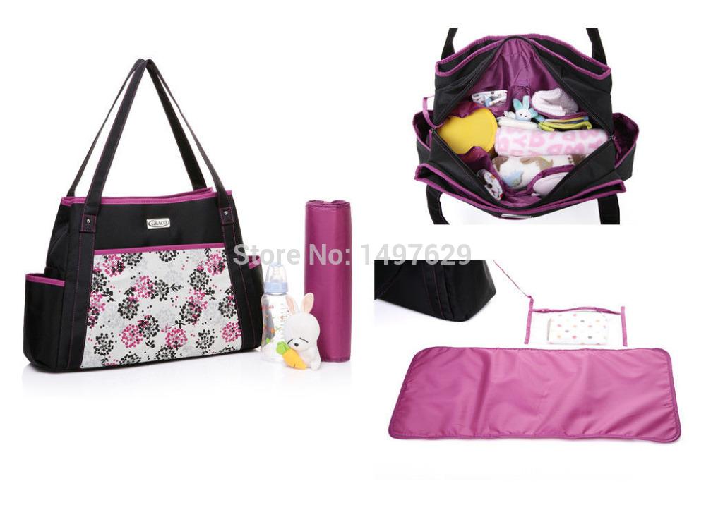2Pcs New Womens Baby Mummy Diaper Nappy Bag Tote Messager Handbags Large GR987(China (Mainland))