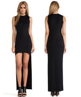 Fashion irregular dovetail low-high female 100% cotton sleeveless black color slim party dresses A01009