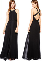 fashion women elegant sexy black color chiffon halter-neck backless party evening dresses A01008