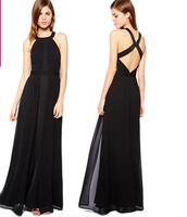 fashion women elegant sexy black color chiffon halter-neck backless party evening dresses A01008