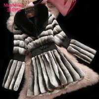 Fashion high quality chinchilla rabbit fur with fox fur collar  female fur outerwear medium-long shawl collar outerwear