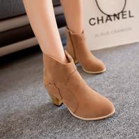 Free shipping  fashion thick heel nubuck leather zipper women's shoes female martin boots