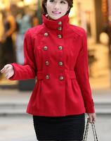 Casacos femininos Europeanstyle woolen coat outwear short wool blended overcoat thicken double breasted overcoat jacket s088