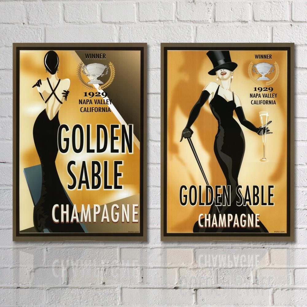 Vintage Golden Sable Champagne Poster Art Prints Home Goods Wall
