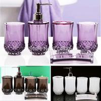 Cheap Elegant Cylindrical Crystal Bathroom Set Household Family Bath Wash Accessories Sets