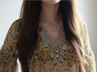 Bohemian Antalya Silver Coin Flower Collar Statement Necklace,Turkish, Gypsy, Boho, Festival, Beach, Silver Chain Bib Necklac