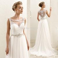 2015 Simple Vintage Cheap Wedding Dresses Scoop Vestido de Noiva Tank Lace Bridal Dress See Through Sash Chiffon A Line W3619