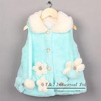 2014 Arrival Girls Vests Winter Fur Waistcoat Flower Blue Kids Outwear Children Wear Free Shipping OC41007-03