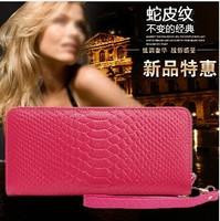 2014 Hot Fashion Women Snake Skin Genuine Cow Leather Long Wallet Zipper Purse,Korea Style Wallets Bag