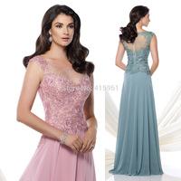 2015 Elegant Pink Sage Long Mother of the Bride Groom Lace Dresses Cap Sleeve Scoop Vestido de Formatura Longo M2150