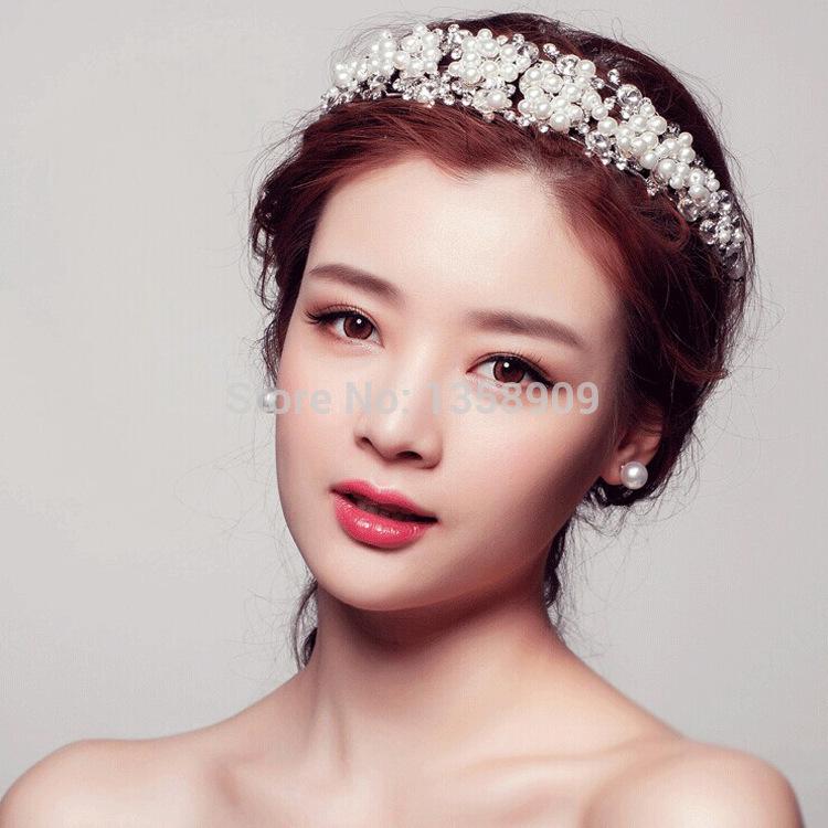Korean pearl bridal jewelry wedding crystal crown headdress head flower wedding accessories DD-1838(China (Mainland))