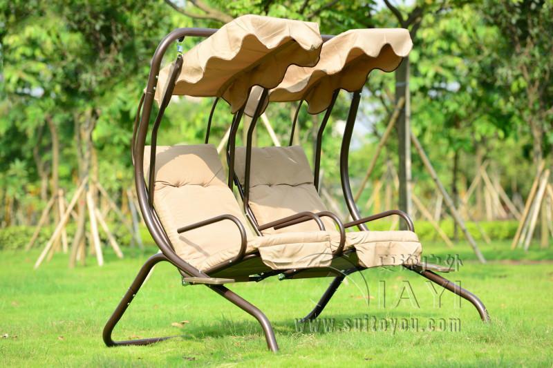 Love seats durable iron garden swing chair hammock outdoor furniture sling cover bench khaki(China (Mainland))