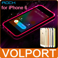 "Rock Original Transparent Shine Incoming Phone LED Flash Light Hard Case Frame TPU Bumper for iPhone 6 4.7"" + Protective Film"