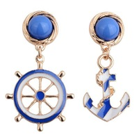 New 2014 Fashion Blue Gold Navy Drop Earrings for Women Anchor Dangle Warring Brincos Grandes Brand Women's Jewelry