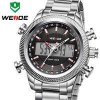 Luxury WEIDE Brand Top Full Steel Men Watch Japan Quartz Movement Back Light Display Waterproof Fashion & Casual Sports Watch