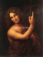Saint John the Baptist By Leonardo Da Vinci, Oil Painting Reproduction,canvas oil painting,Handmade,Free shipping