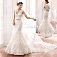 Vestido de Casamento 2015 Elegant White Lace Wedding Dress Mermaid Bridal Gowns V Neck Tank Belt Custom Made W3614