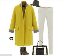 2014 Fashion Women Overcoat Woolen  Material  European Style  Slim Long Women Overcoat  Hot Sale Winter Tops  Free Shipping  E52