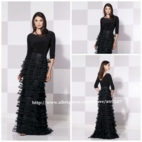 New Style!A-line cap sleeve long evening dress Full-Length vestido de festa women dress evening party