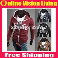 2015 New style mens outwear Hoodies men clothes men's slim jacket fashion sport print English letters Cardigan sweater CoatA0634