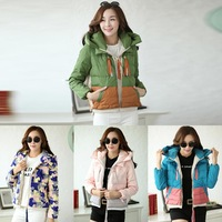 Variety Fashion Female Winter 2014 New Military Discounts With Thickened Loose Straight Short Down Jacket Fleece Hoodies Hot