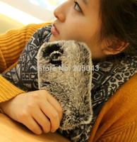 New Luxury 3D Goldtop Rex Rabbit hair Fur shell Rhinestone Diamond Hard Case Cover For iPhone 5 5S 4 4S