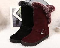 2014 winter genuine leather with rabbit fur snow boots women medium-leg boots platform boots plus size boots ,S5855