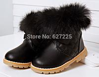 2014 winter children boots female child Princess rabbit hair high cotton thermal child snow boots