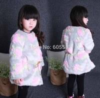 1 pcs Retail 2014 New Winter Girls Faux Fur Coat Flower Warm Kids Jacket Fashion Long Coat Outerwear 1313