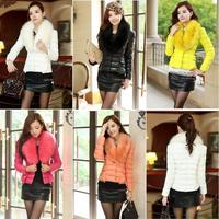 Lady Stripe Shrug Fur Collar Short Woman Down Wadded Jacket Coat Outwear # 65476