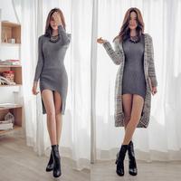 E-Unique New 2014 Autumn O-Neck Slim Hip Cutout Medium-Long One-Piece Dress Women'S Thread Elastic Knit Dress WWB29