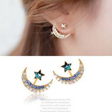 1pcs Free shipping Jewelry  of the rhinestone star earrings moon pentacle pendant earrings full of diamond earrings  female