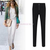 European American Style 2014 New Autumn Winter Black White Trousers Casual Women's Pant Slim Thin Plus Size Pants For Women 2033