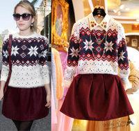 Free shipping 2014 winter new women clothing set,skirt suit,women geometrical pattern knitting sweater and ball-gown skirt
