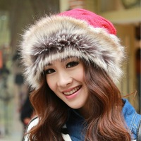 1 Pcs 2014 Winter Hot Design Hat Scarf Two Use With Thick Warm Women Knitted Cap Mongolia Princess Hat 6 Colors Free shipping