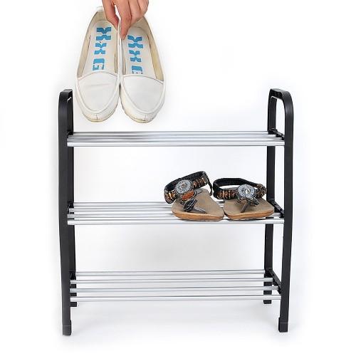 New 3 Tier Plastic Shoes Rack Organizer Stand Shelf Holder Unit Black Light Free shipping(China (Mainland))