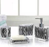 Popular Acrylic Fashion Zebra-Stripe Bathroom Set Accessories Home Decoration 4pcs