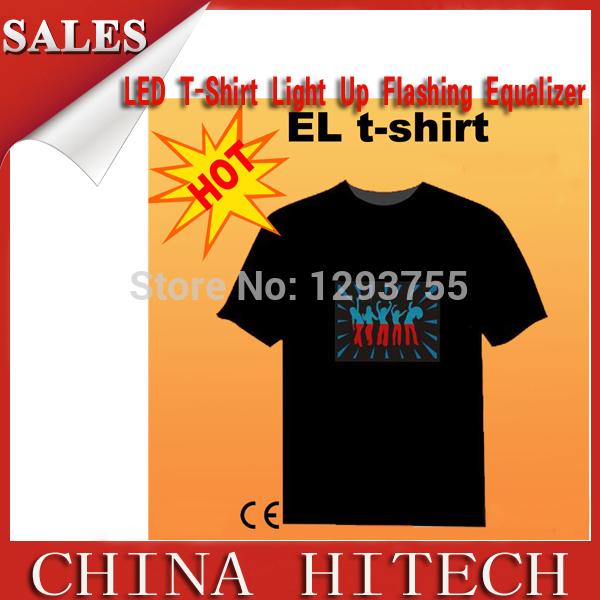 LED T shirt CHRISTMAS FESTIVAL GIFT SOUND-ACTIVATED DJ DISCO DANCING EL T shirt 100% cotton(China (Mainland))