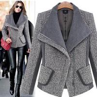 2014 Winter new Slim short section European & American women's spell color woolen coat short model Zipper Turn-down Collar coat