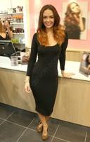New 2014 Midi Bodycon Dress Womens Soild Color Slim Tunic Pencil Party Dresses Sexy Ladies Causal Dress SV03 CB031152