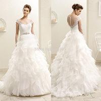 New Design Pure White 2015 Wedding Dresses Lace Bridal Gowns Cap Sleeve Scoop Belt Princess Ruffles Robe De Casamento W3620