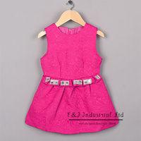 2015 Girl Dresses Hot Pink Princess Cotton Dresses Kids Vestido Children Clothes Free Shipping GD41007-16