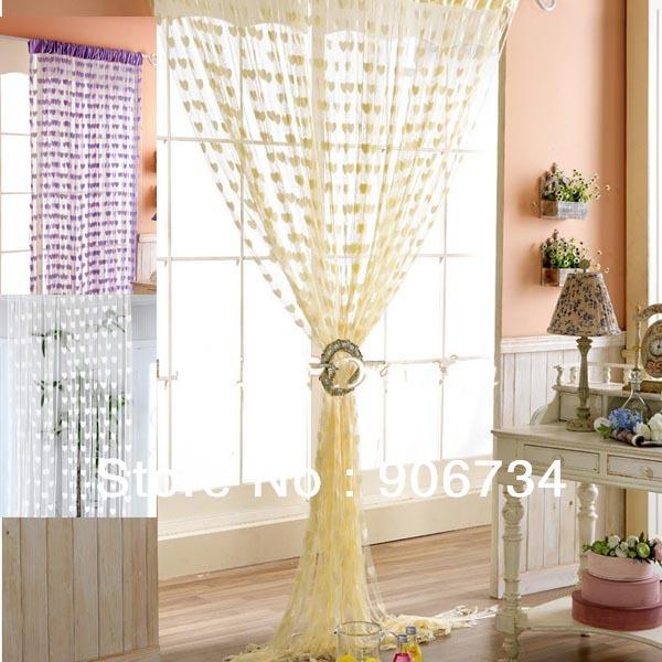 livre novo shippinghigh qualidade borla quarto string cortina de porta janela pendurado com corações forma padrão de design(China (Mainland))