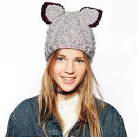 new arrival 2014  FashionWomen Lady Devil Horns Cat Ear Crochet Braided Knit Ski Beanie Wool Hat Cap Winter Warm Beret