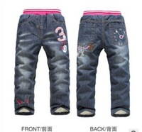 2014High Quality KK-RABBIT Brand Winter Kids Jeans thicken jeans baby kids pants girls denim pants kids winter trousers 5pcs/lot