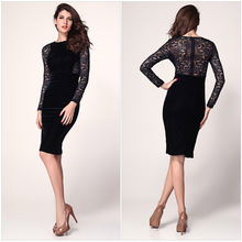 2014 New Autumn Fashion Long Sleeves Women Dress Lace Sleeves Patchwork Bodycon Evening Party Sexy Bandage dress for ladies (China (Mainland))