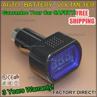 car battery voltage meter moniter 12v 24v auto battery voltmeter lcd cigarette lighter volt panel meter 100pcs